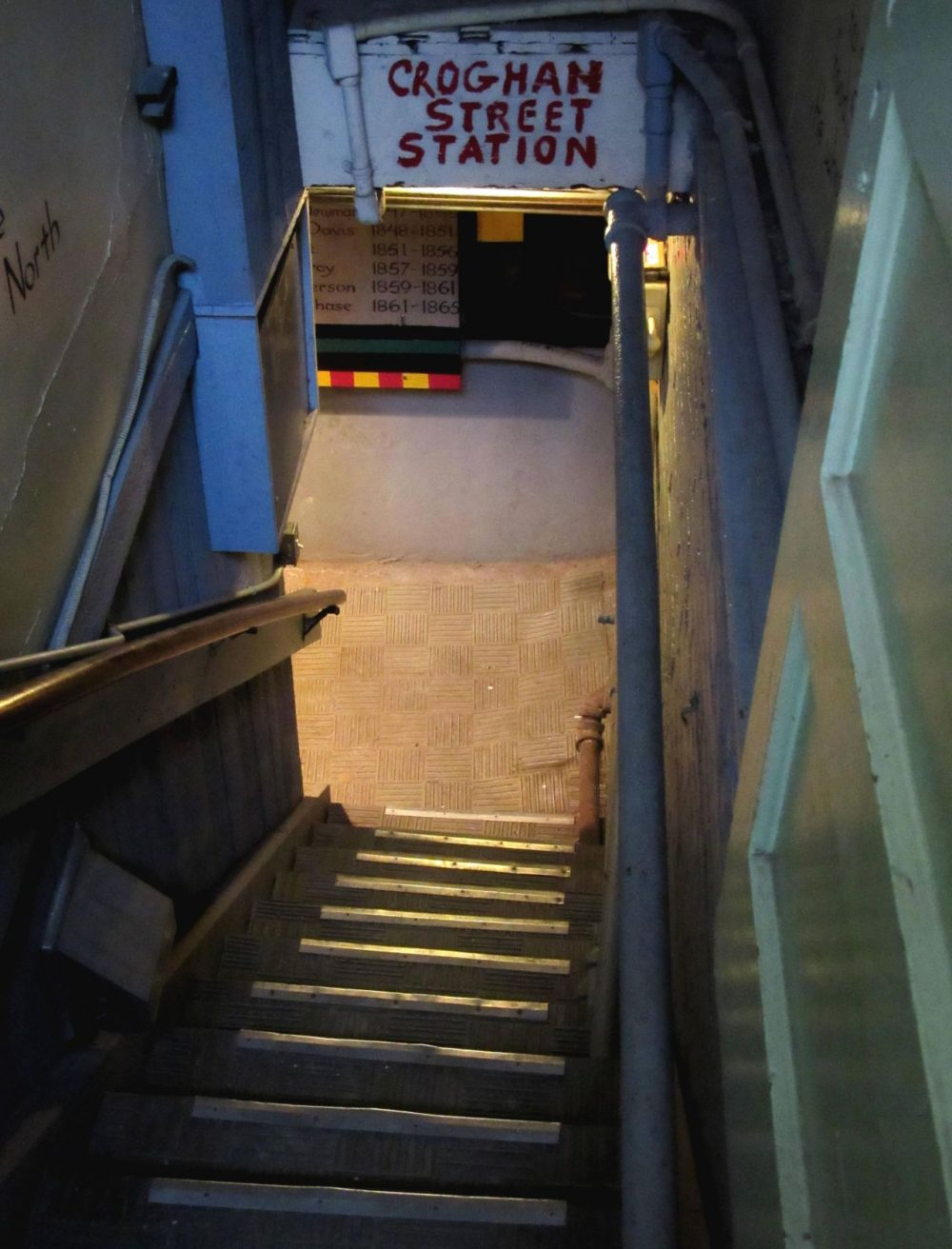 Steps to the basement of the Second Baptist Church of Detroit where escaped slaves were hidden. While the street in front of the church is now Monroe, in the 1830s, the street name was Croghan. (Lester Graham/Michigan Radio)