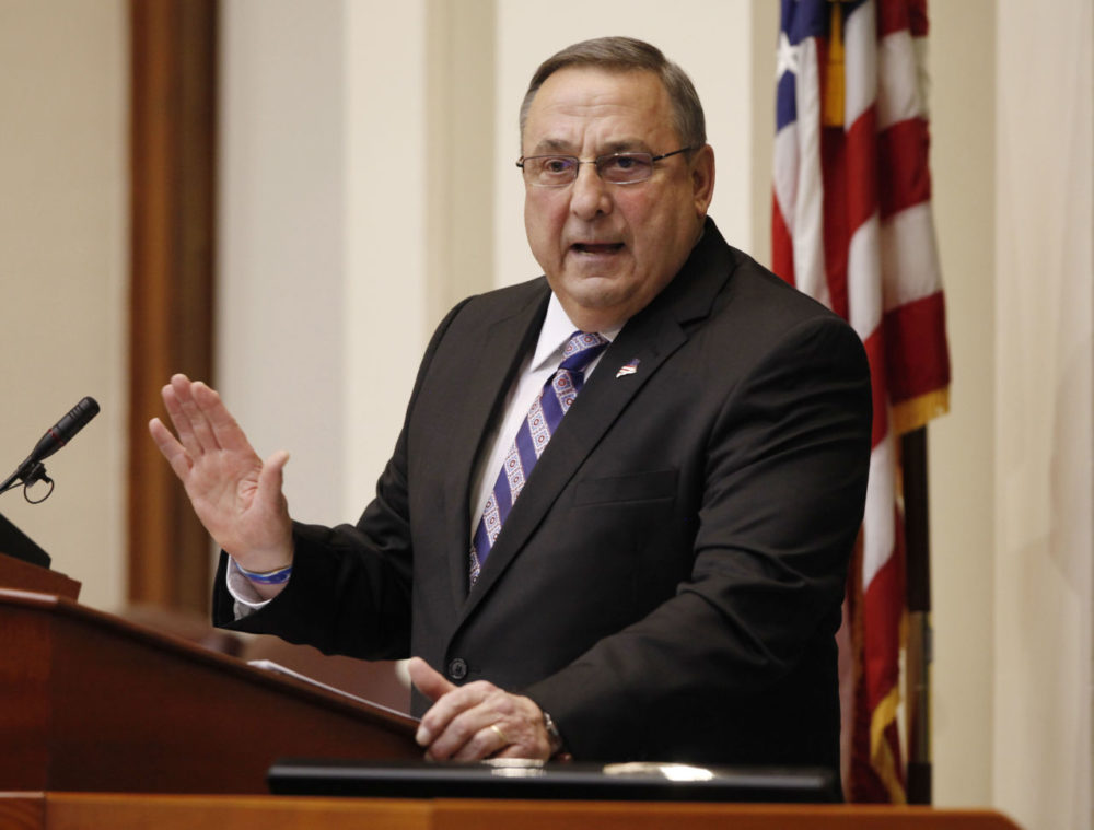 Gov. Paul LePage delivers his State of the State address to the Legislature at the Statehouse in Augusta, Maine in February. (Joel Page/AP)