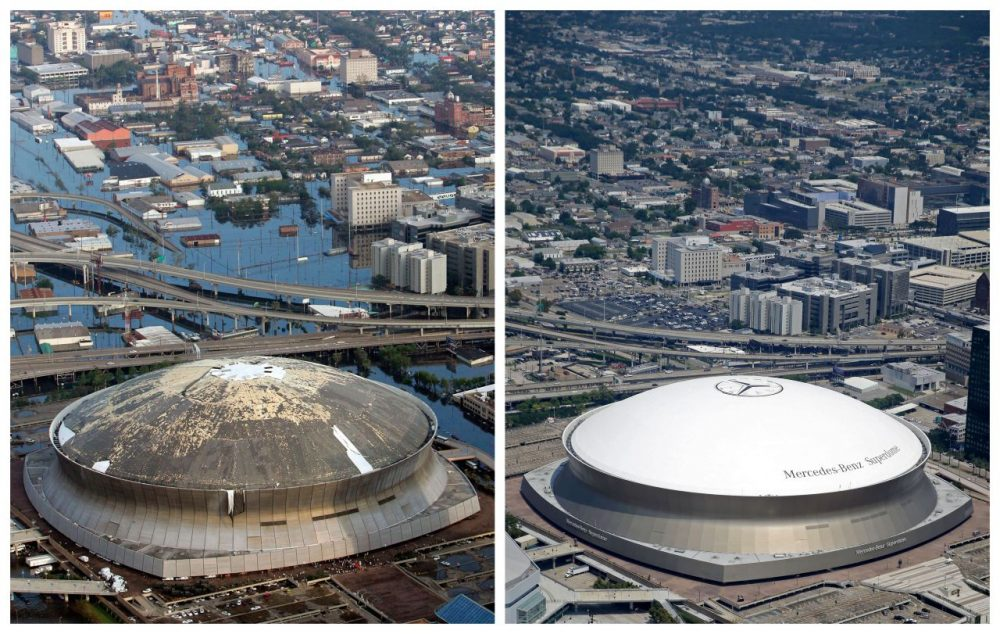 Katrina ravaged the Superdome like it did to much of New Orleans. But 10 years later. Tthe Superdome has been back in use, but parts of the city have yet to be restored. (Gerald Herbert/AP)