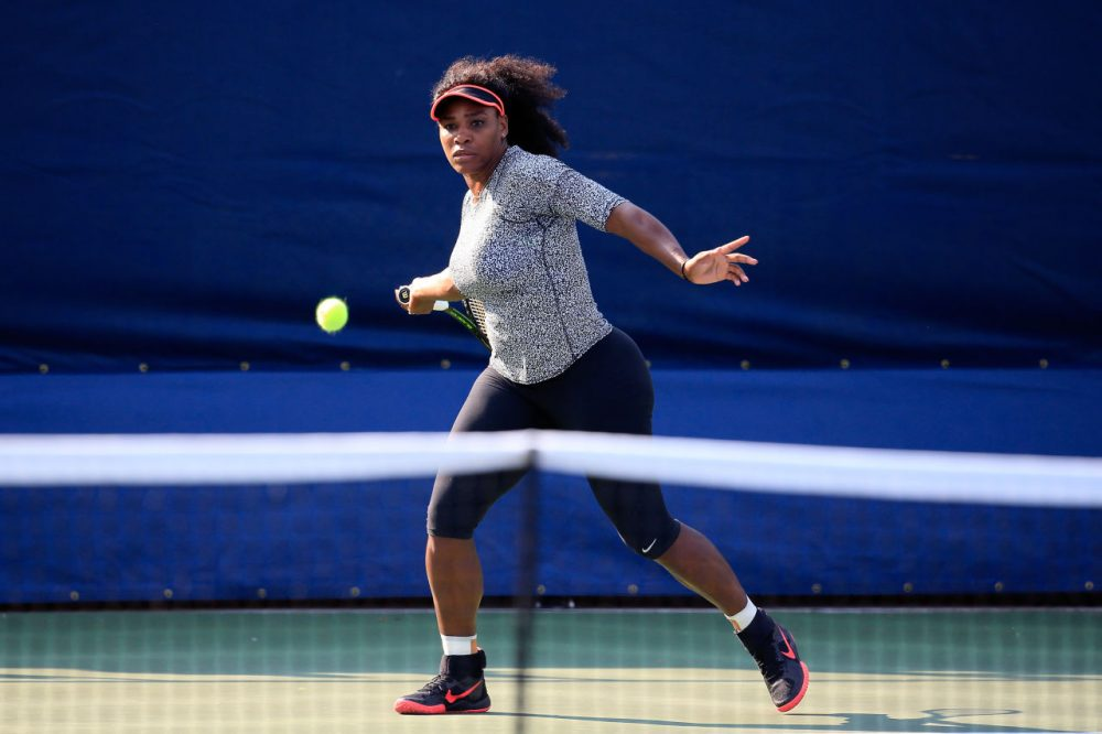 Serena Williams of the United States hits a ball during a practice session prior to the U.S. Open at USTA Billie Jean King National Tennis Center on August 30, 2015 in New York City. (Chris Trotman/Getty Images for the USTA)