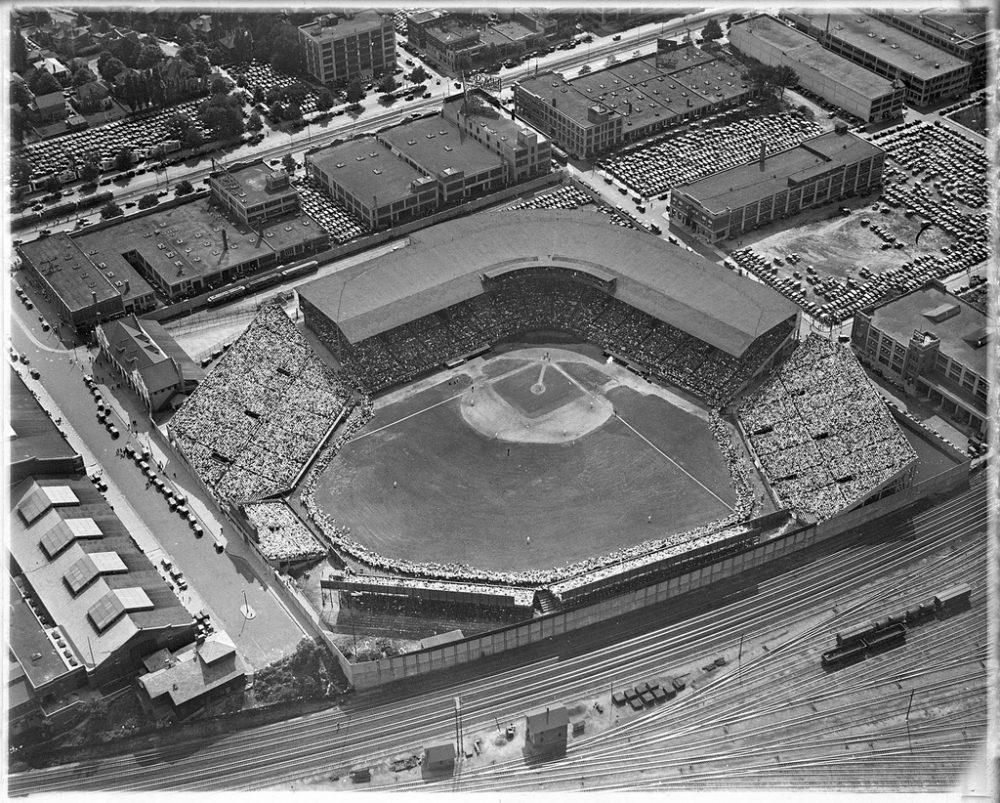 An aerial view of Braves Field in 1933 (Courtesy of the Boston Public Library, Leslie Jones Collection)