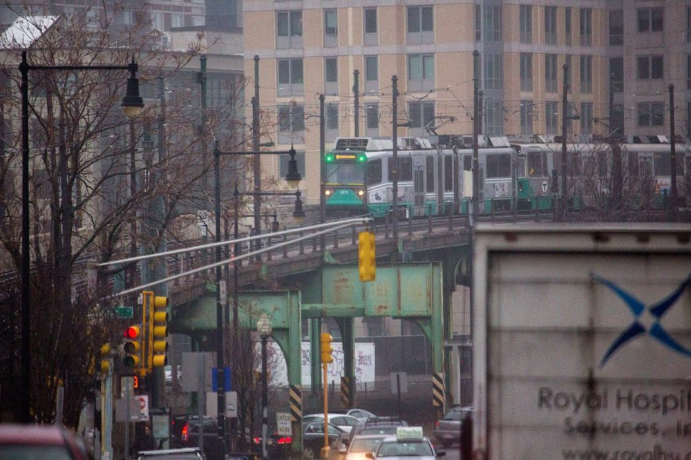An MBTA Green Line train enters Lechmere Station in Cambridge. The cost set by the Green Line Extension contractor for the first three stations is more than double the amount state and federal transit officials recently estimated, officials revealed Monday. (Jesse Costa/WBUR)