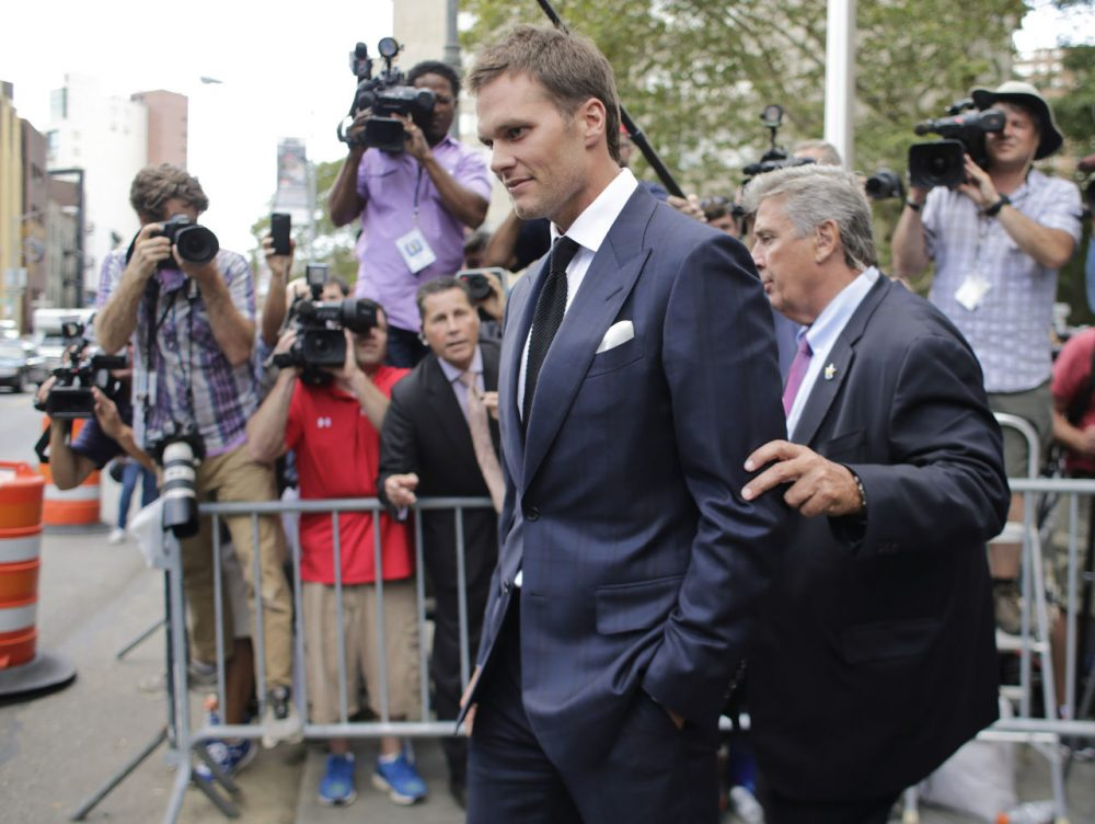 New England Patriots quarterback Tom Brady leaves federal court in New York last week. (Frank Franklin II/AP)