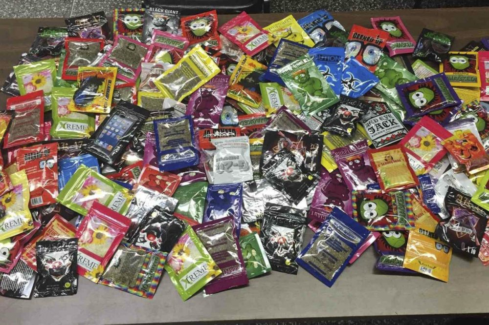 This photo provided Aug. 7 by the New York Police Department shows packets of synthetic marijuana seized after a search warrant was served at a newsstand in Brooklyn. (AP)