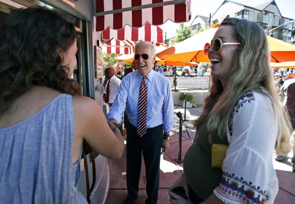 Vice President Joe Biden greets customers during a visit to Little Man Ice Cream in Denver last month. (Brennan Linsley/AP)