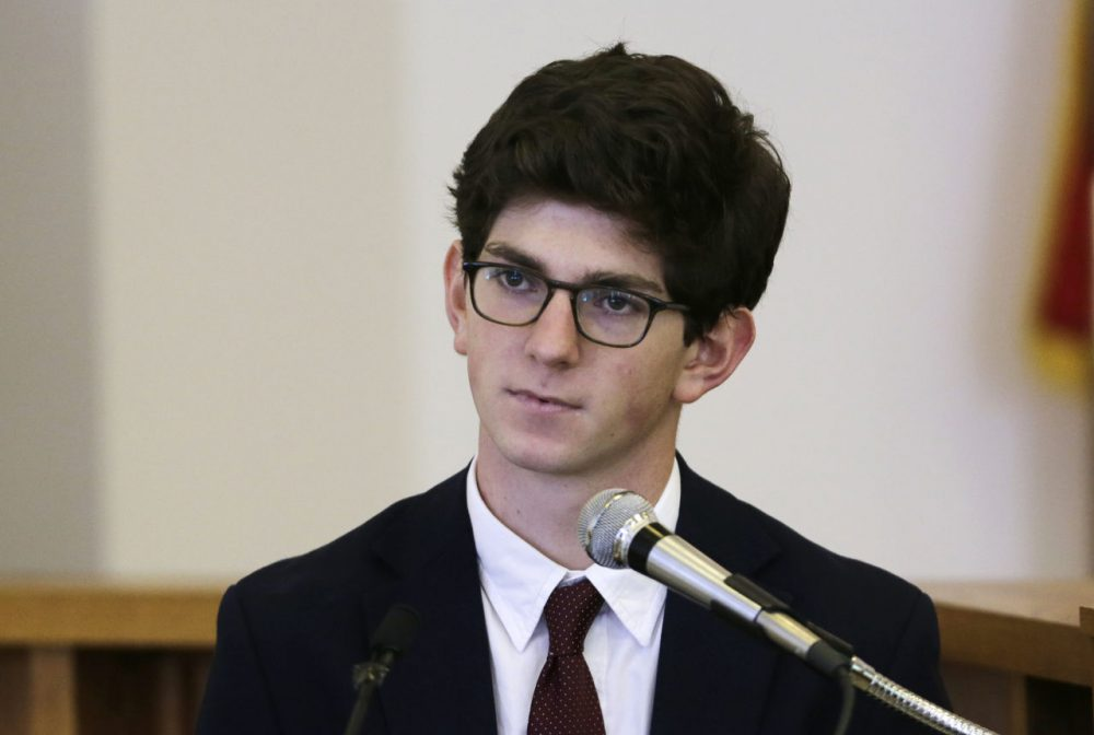 Former St. Paul's School student Owen Labrie testifies in his rape trial at Merrimack Superior Court in Concord, N.H., on Wednesday. (Charles Krupa/AP)