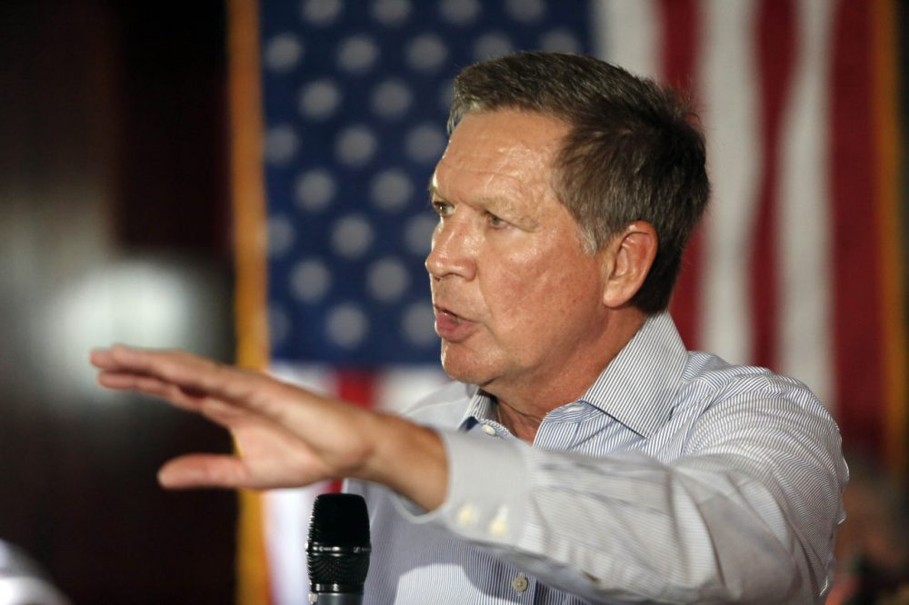 Republican presidential candidate and Ohio Gov. John Kasich speaks during a campaign stop on Aug. 12 in Derry, N.H. (Jim ColeAP)