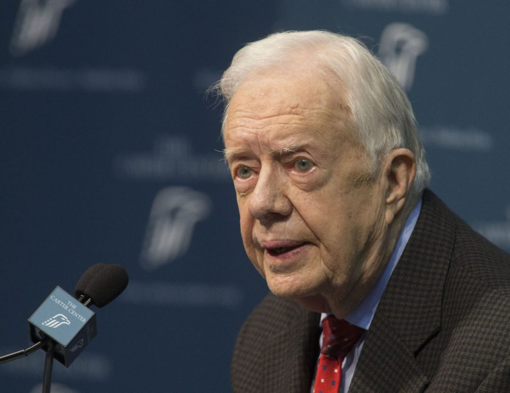Former President Jimmy Carter discusses his cancer diagnosis at the Carter Center in Atlanta, on Thursday. Carter, 90, said the cancer has spread to his brain, and he will undergo radiation treatment at Emory University Hospital. (Phil Skinner/AP)