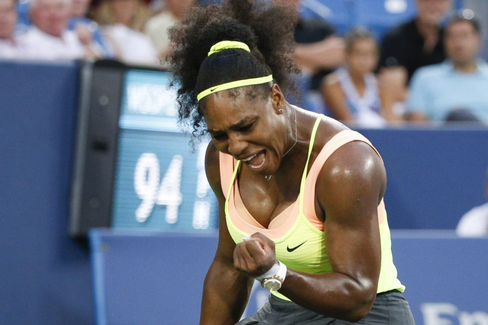 Serena Williams, of the United States, reacts during a semifinal match against Elina Svitolina, of Ukraine, at the Western & Southern Open tennis tournament, Saturday, Aug. 22, 2015, in Mason, Ohio. Williams defeated Svitolina 6-4, 6-3. (John Minchillo/AP)