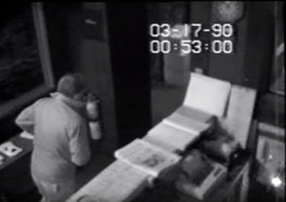 A screen grab from surveillance footage released Thursday of the night before the 1990 art heist at Boston's Isabella Stewart Gardner Museum. (Courtesy U.S. Attorney's Office in Massachusetts via YouTube)
