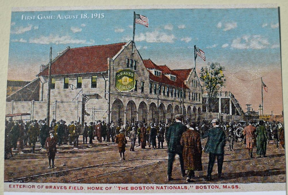An old postcard showing what the building looked like back in 1915. (Photo of postcard by Sharon Brody for WBUR)