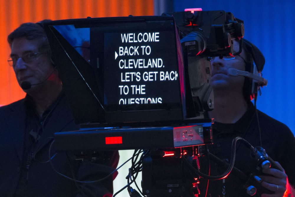 Production crew members work a pre-debate forum at the Quicken Loans Arena, Thursday, Aug. 6, 2015, in Cleveland.  (AP)