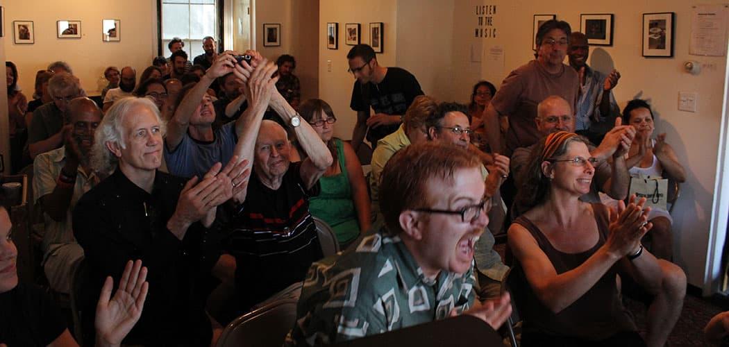 The crowd goes wild at the Boston Poetry Marathon. (John Mulrooney)