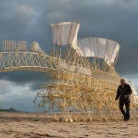 """Theo Jansen accompanies one of his walking """"Animaris Umerus' """"Strandbeests"""" on the shore of Scheveningen in the Netherlands in 2009. (Loek van der Klis)"""