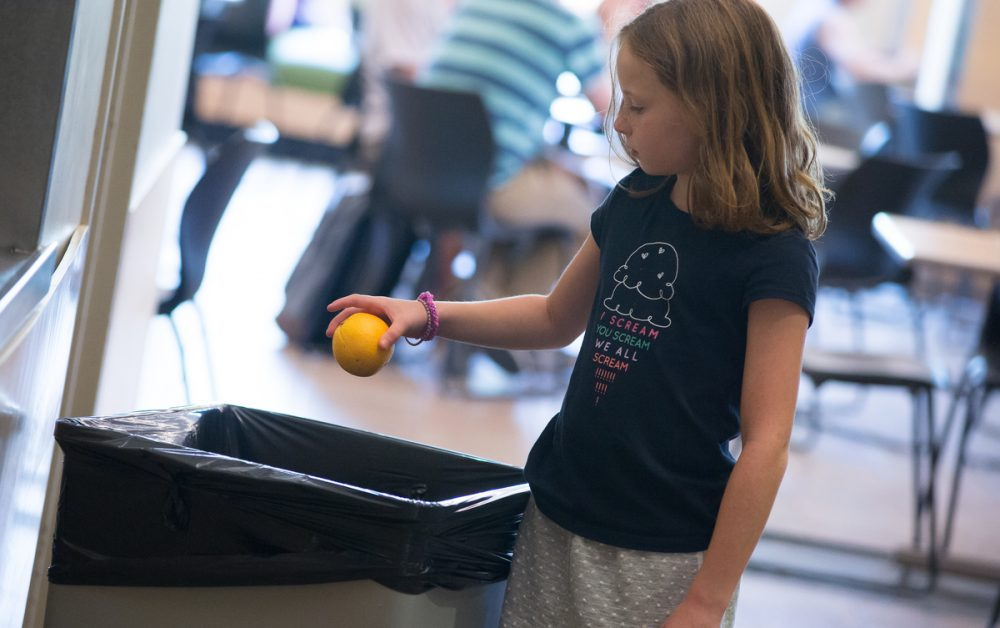 A study finds that kids often trash the fruit and vegetables from their school lunches. (Sally McCay, UVM Photography)