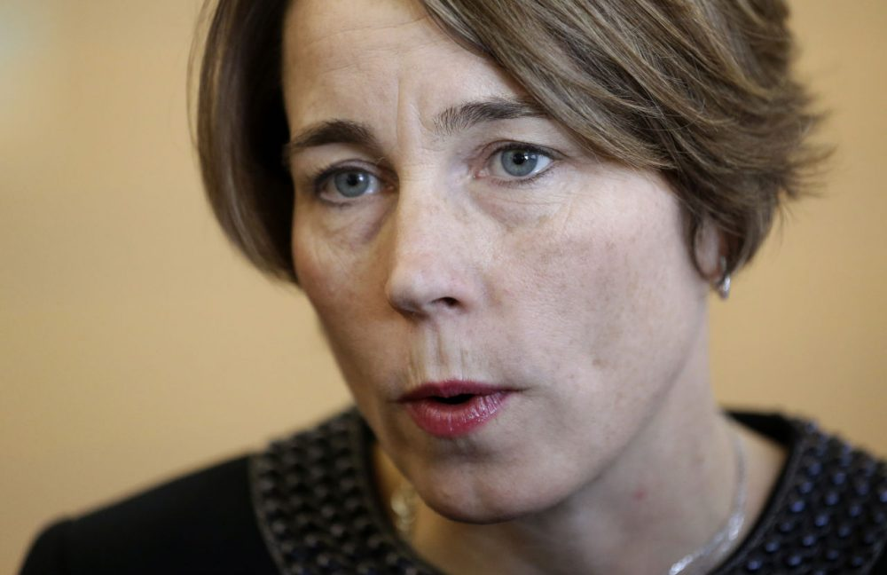 Attorney General Maura Healey, pictured, and Patriots owner Robert Kraft on Tuesday announced the creation of a relationship violence prevention program aimed at high school students across the state. (Steven Senne/AP/File)