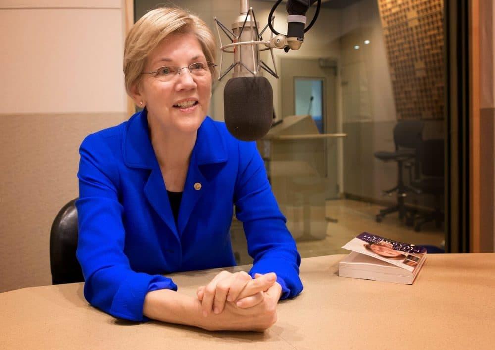 Elizabeth Warren told the AP she's happy with her job as senator. Here she is at WBUR in March. (Robin Lubbock/WBUR)