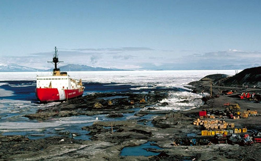 A U.S. Coast Guard ice-breaker is docked at a village off Alaska's northern coast above the Arctic Circle, in this undated photo provided by the U.S. Coast Guard. (U.S. Coast Guard via AP)