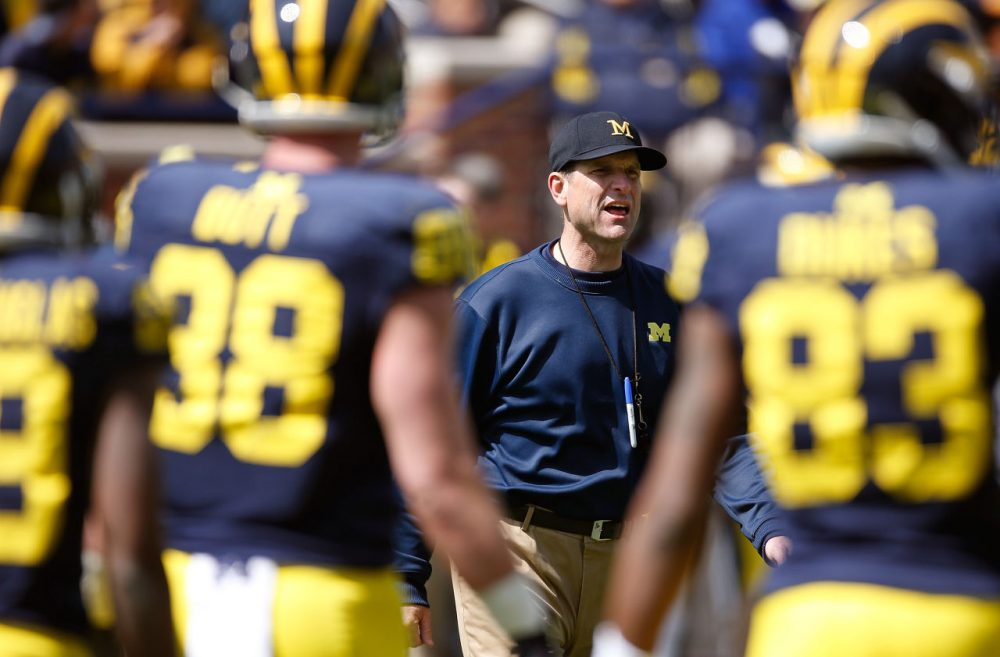 Head coach Jim Harbaugh of the Michigan Wolverines looks on during the Michigan Football Spring Game on April 4, 2015 at Michigan Stadium in Ann Arbor, Michigan. (Gregory Shamus/Getty Images)
