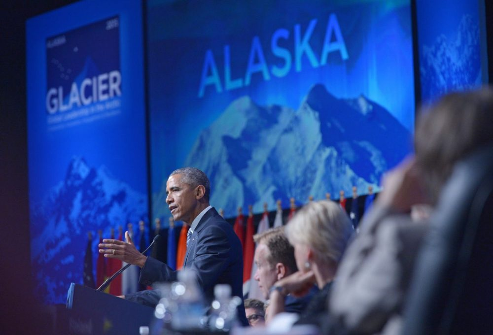President Barack Obama speaks at the Global Leadership in the Arctic: Cooperation, Innovation, Engagement and Resilience (GLACIER) Conference in the Denaina Civic and Convention Center on August 31, 2015 in Anchorage, Alaska. (Mandel Ngan/AFP/Getty Images)