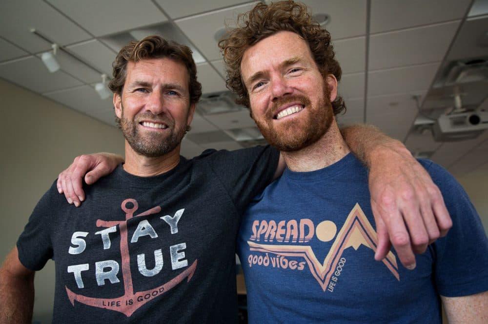 "Bert and John Jacobs, co-founders of ""Life Is Good."" (Robin Lubbock/WBUR)"