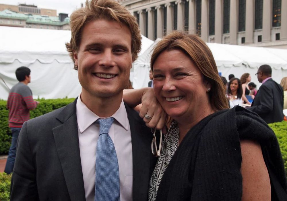 Ben Yeager is pictured with his mother, Anne Yeager, at his 2014 graduation from the Columbia Graduate School of Journalism. (Courtesy of Ben Yeager)