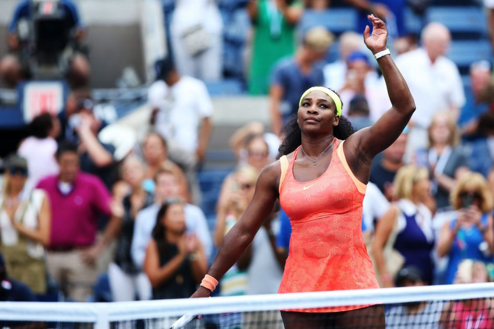 Serena Williams of the United States reacts after defeating  Kiki Bertens of the Netherlands during their Women's Singles Second Round match on Day Three of the 2015 US Open at the USTA Billie Jean King National Tennis Center on September 2, 2015 in New York City. ( Matthew Stockman/Getty Images)