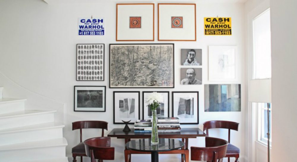 Well, says Cheryl Katz, most of it anyway. In this photo, art by family and friends adorns a second-story wall in Katz's Beacon Hill townhouse. (Justine Hand, via Remodelista/ Courtesy)