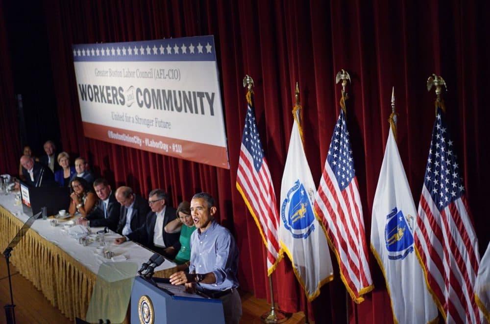 President Barack Obama addresses the Greater Boston Labor Council Labor Day Breakfast on September 7, 2015 in Boston, Massachusetts. (Mandel Ngan/AFP/Getty Images)