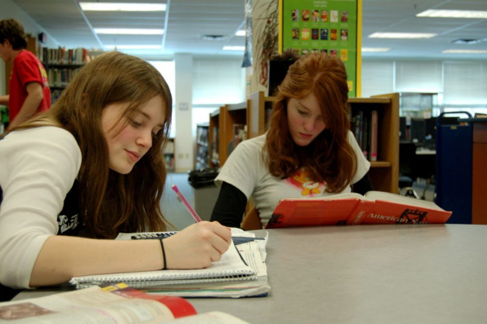 Two girls spend time at a library studying math and doing homework. (MC Quinn)