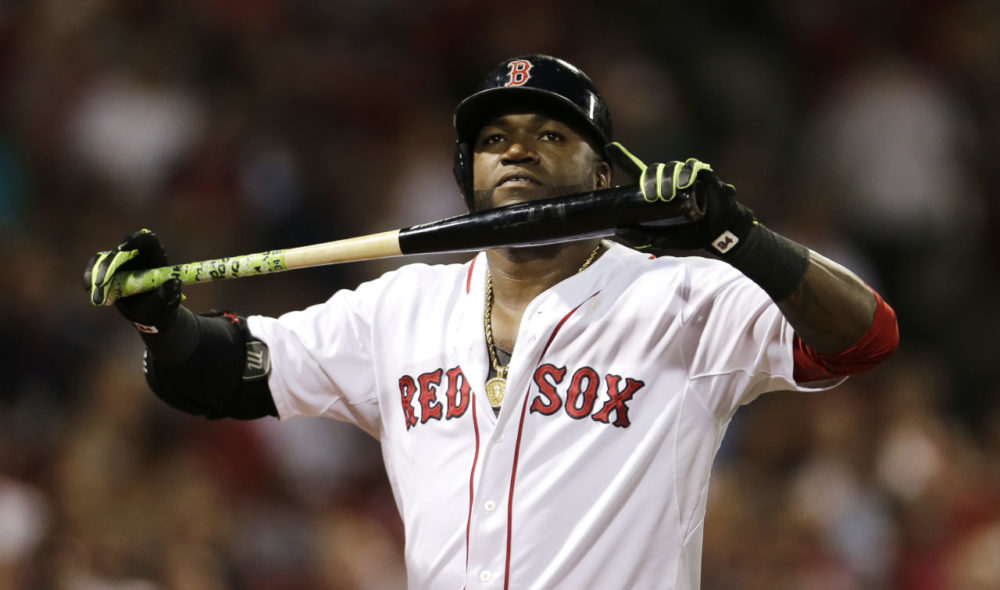 Boston Red Sox designated hitter David Ortiz after flying out in a baseball game at Fenway Park in Boston on Wednesday. (Charles Krupa/AP)