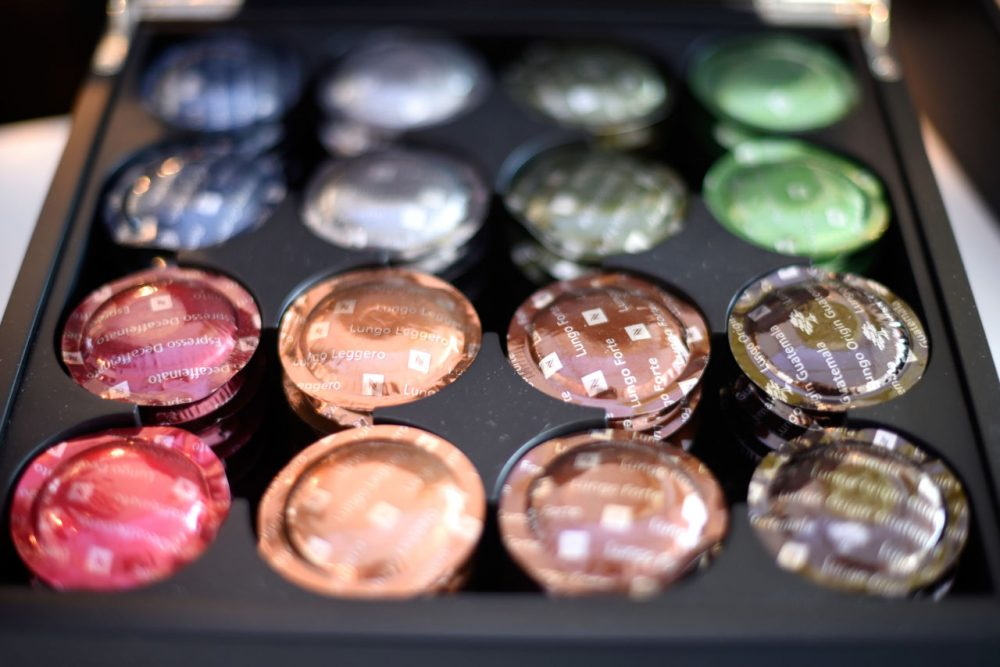 A tray of Nespresso capsules, which the new facility in Switzerland will produce. (Clemens Bilan/Getty Images for Nespresso)