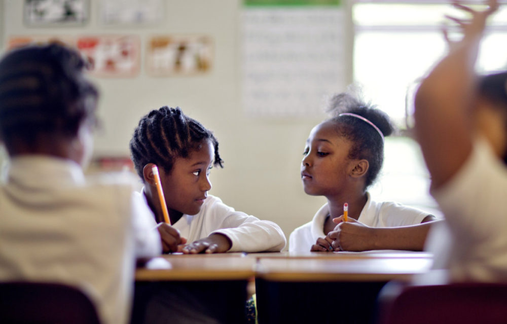The Boston Public Schools system has one of the most racially and ethinically diverse pools of students in the nation: 87 percent are students of color. For decades, the school system has struggled to recruit minority teachers, however. School officials are increasing efforts to attract teachers from diverse backgrounds. (David Goldman/AP)