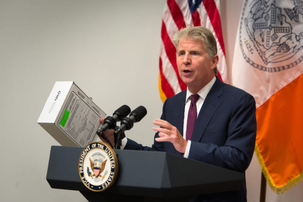 Manhattan District Attorney Cyrus Vance shows a sexual assault kit during a press conference at the Office of the Chief Medical Examiner Thursday, Sept. 10, 2015, in New York. During the event, Vance, Vice President Joe Biden, U.S. Attorney General Loretta Lynch and actress Mariska Hargitay announced almost $80 million in grants to help eliminate a vast nationwide backlog of rape kits. (Kevin Hagen/AP)