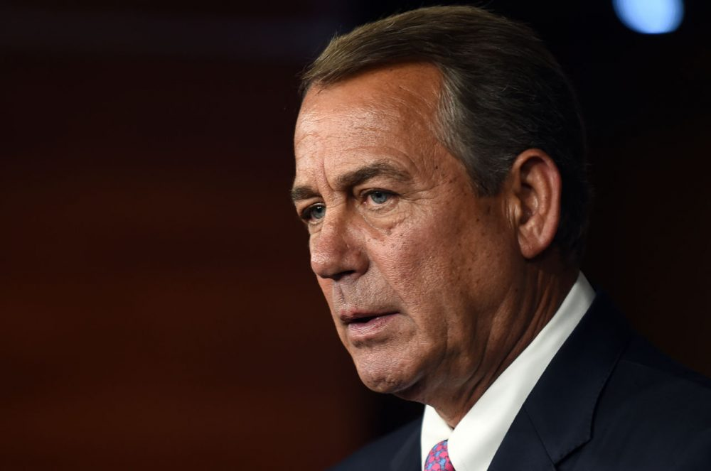 House Speaker John Boehner holds his weekly news conference on Capitol Hill on July 29, 2015 in Washington, DC. During the press conference the Speaker listed the accomplishments of the Republican party that saved US tax payers trillions of dollars, but admitted much more needs to be done. (Astrid Riecken/Getty Images)