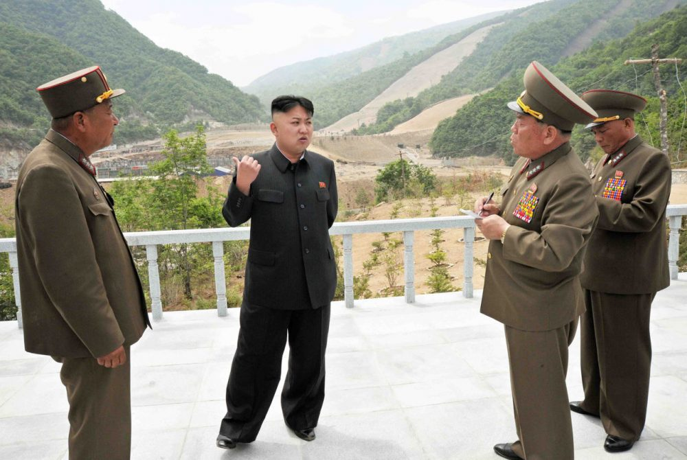 This undated photo released by North Korea's official Korean Central News Agency (KCNA) on May 27, 2013 shows North Korean leader Kim Jong-Un providing a field guidance to the Masik Pass Skiing Ground, under construction by the Korean People's Army. (KCNA via KNS/AFP/Getty Images)