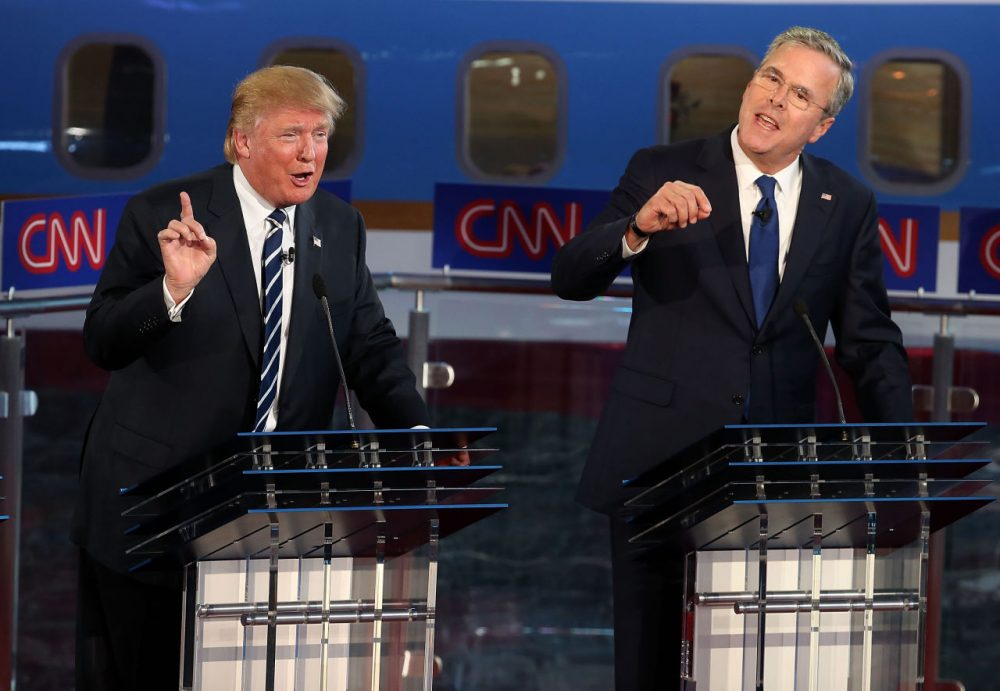 Republican presidential candidates Donald Trump (L) and Jeb Bush argue during the republican presidential debates at the Reagan Library on September 16.  (Justin Sullivan/Getty Images)