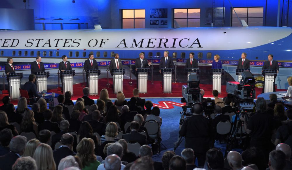 Republican presidential candidate, businessman Donald Trump, center, speaks as the other candidates look on during the CNN Republican presidential debate at the Ronald Reagan Presidential Library and Museum on Wednesday, Sept. 16, 2015, in Simi Valley, Calif. (Mark J. Terrill/AP)