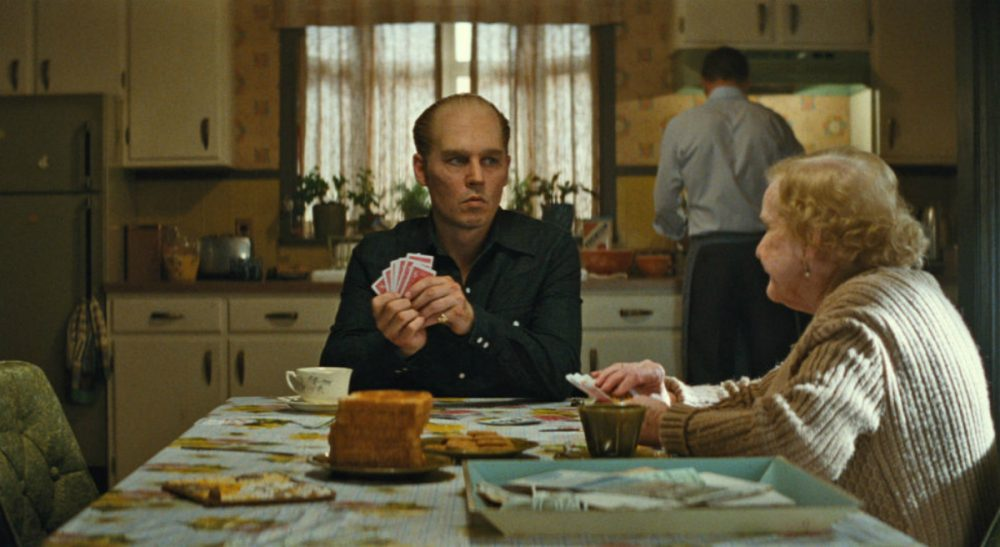 "Johnny Depp as Whitey Bulger with Mary Klug, who plays Ma Bulger, in ""Black Mass."" (Courtesy Warner Bros. Entertainment)"