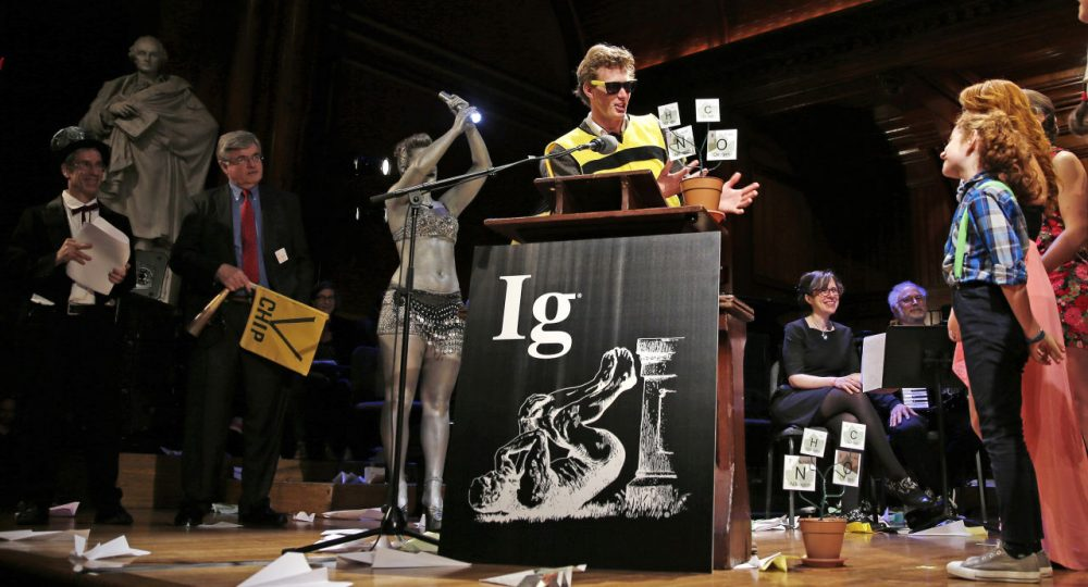 Michael Smith, who allowed himself to be stung about 200 times by bees to determine where you feel the most pain on the body from a sting, at the Ig Nobel Prize ceremony at Harvard University, in Cambridge, Mass., Thursday, Sept. 17, 2015. (Charles Krupa/AP)