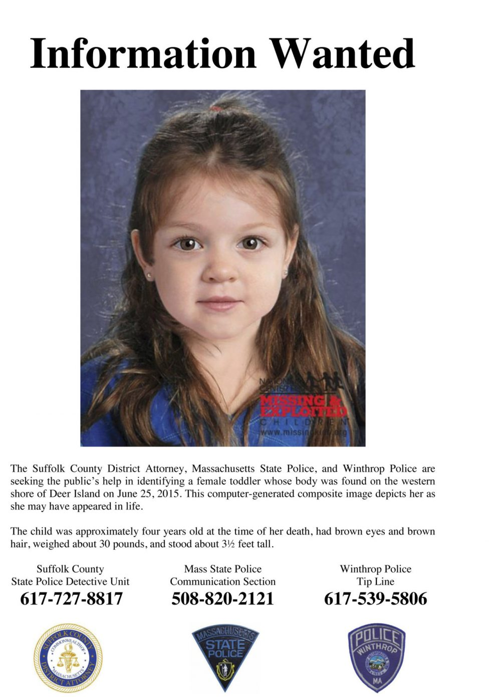 Flyer released July 2015 by the Suffolk County Massachusetts District Attorney includes a computer-generated composite image depicting the possible likeness of a young girl whose body was found on the shore of Deer Island in Boston Harbor in June. (Suffolk County District Attorney via AP, File)