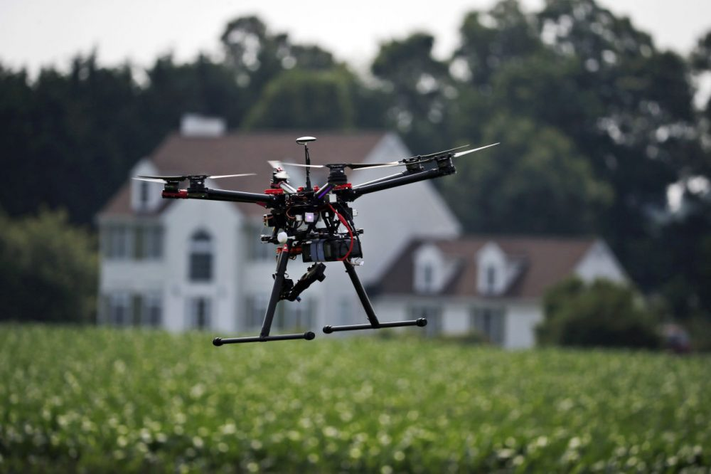 A hexacopter drone is flown in a demonstration at a farm and winery in Cordova, Maryland. The small, relatively inexpensive unmanned aerial vehicles could replace humans in a variety of ways around large farms, transmitting detailed information about crops, directing farmers to problem spots and cutting down on the amount of water and chemicals used. (Alex Brandon/AP)