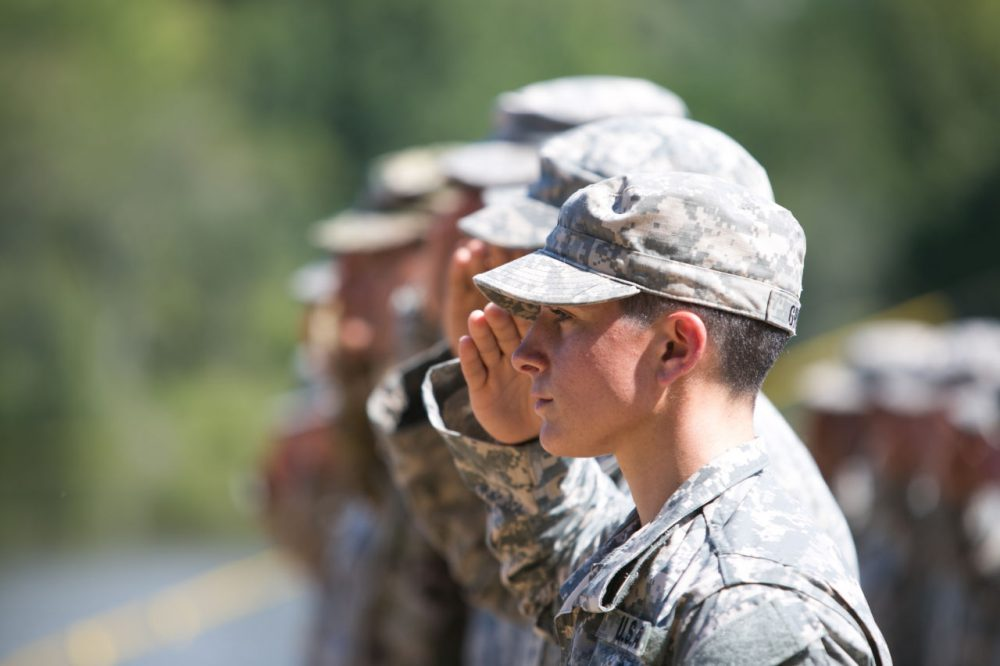 Capt. Kristen Griest salutes during the graduation ceremony of the United States Army's Ranger School on August 21, 2015 at Fort Benning, Georgia. Capt. Griest and 1st Lt. Shaye Haver are the first women ever to successfully complete the U.S. Army's Ranger School. (Jessica McGowan/Getty Images)