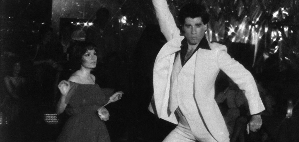 "John Travolta and Karen Gorney dance in a nightclub scene to disco music in the 1977 release of ""Saturday Night Fever."" (HO/AP)"