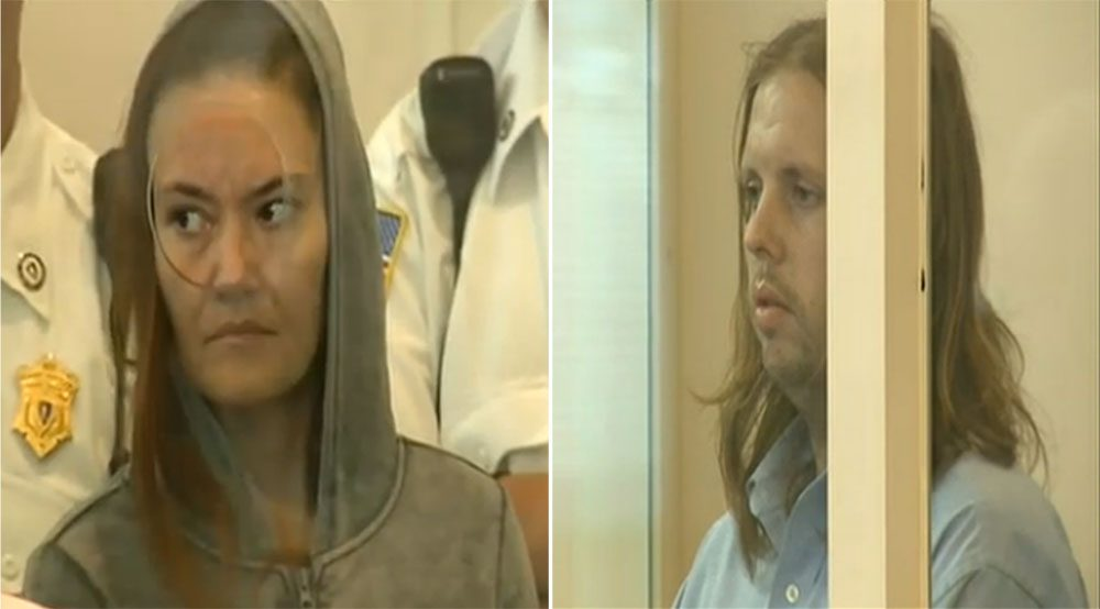 Rachelle Dee Bond, 40, and Patrick McCarthy, 35, were arraigned in Dorchester Municipal Court on Sept. 20, 2015 in the death of 2-year-old Bella Bond, whose body was found in late June on Deer Island in Winthrop. (Video screenshot/NECN)