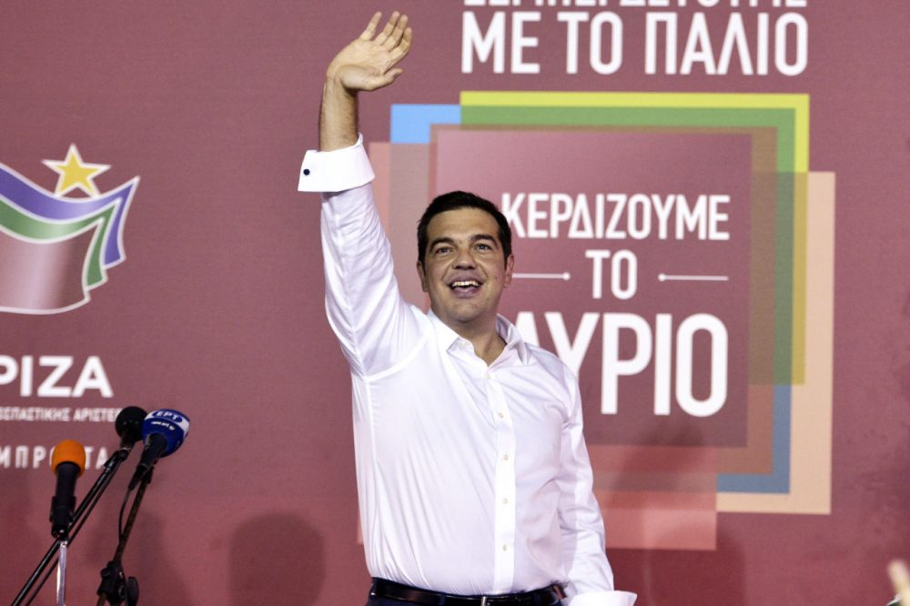 Former Greek prime minister and leader of leftist Syriza party Alexis Tsipras address supporters after winning the general election on September 20, 2015 in Athens, Greece. (Milos Bicanski/Getty Images)