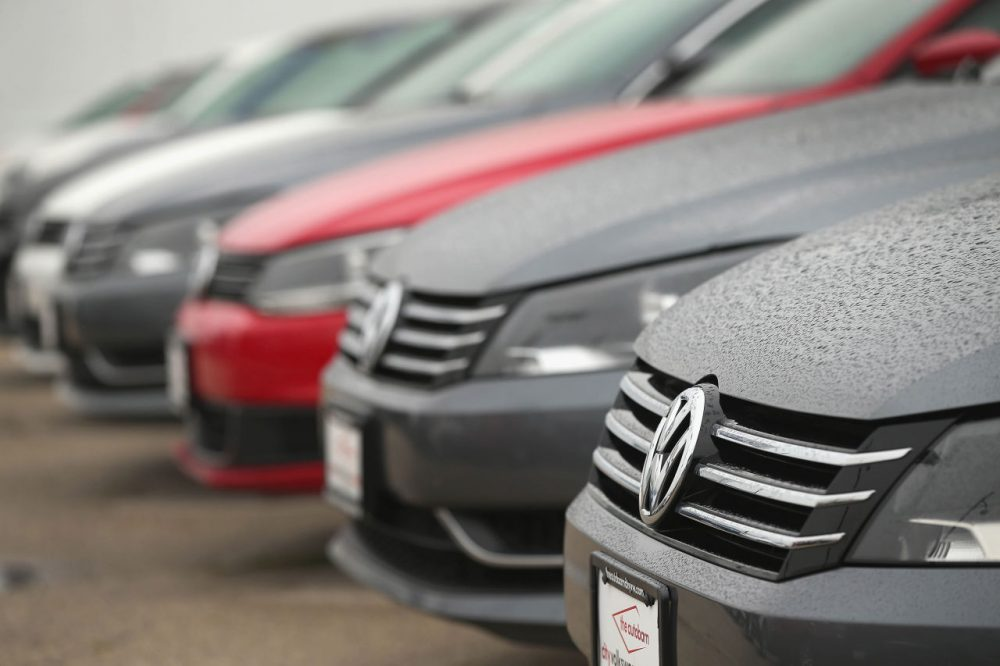 Volkswagen Passats are offered for sale at a dealership on September 18, 2015 in Chicago, Illinois. The EPA has accused Volkswagen of installing software on nearly 500,000 diesel cars in the U.S. to evade federal emission regulations. (Scott Olson/Getty Images)