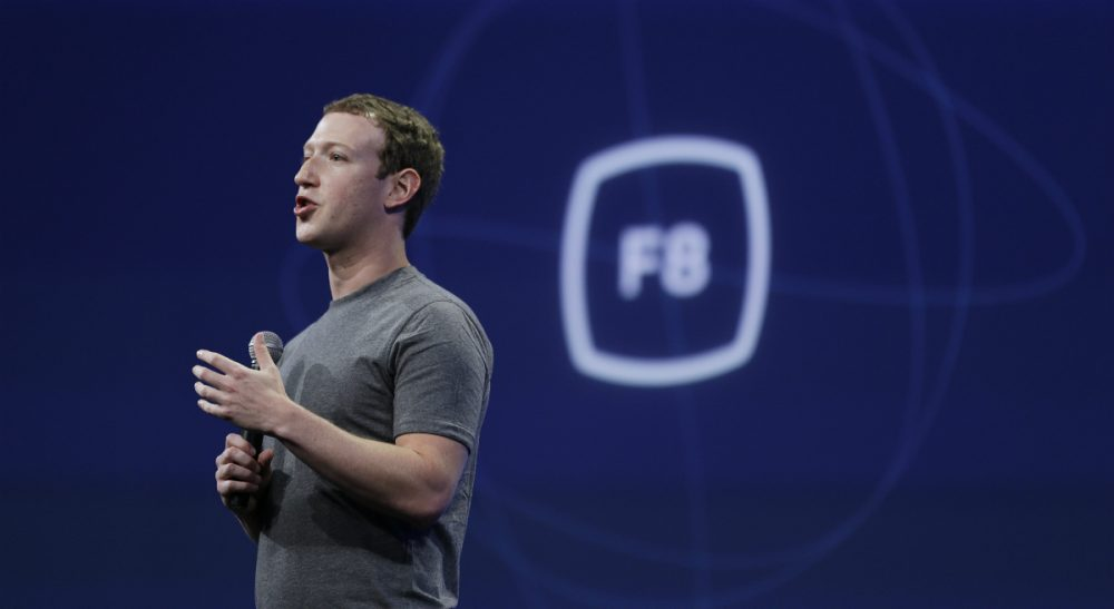 """FILE - In this March 25, 2015, file photo, CEO Mark Zuckerberg delivers the keynote address at the Facebook F8 Developer Conference in San Francisco. Zuckerberg said Tuesday, Sept. 15, Facebook may finally be getting a button that lets you quickly express something beyond a """"like."""" (Eric Risberg/AP)"""