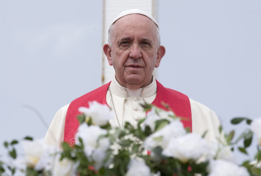 Pope Francis, pictured here in Cuba on Monday, Sept. 21, 2015, will visit the U.S. this week and is expected to sell his stance on the environment to lawmakers and world leaders. (Alessandra Tarantino/AP Pool)