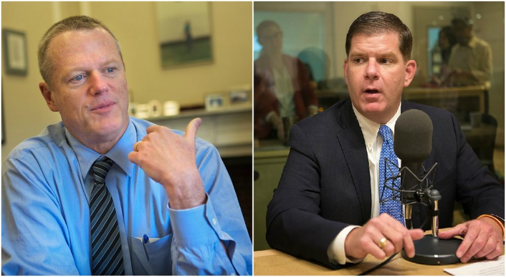 In recent months, Gov. Charlie Baker and Boston Mayor Marty Walsh have both refused to release their text messages. Tom Keane argues they are right to do so. Gov. Baker is pictured in his office at the State House; Mayor Walsh is pictured as a guest on Radio Boston. Both photos were taken on April 17, 2015 by WBUR's  Jesse Costa.